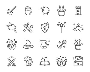 set of fantasy vector icons, magic fairytale
