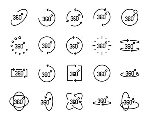 set of vr line icons ,such as 360 degree, virtual, reality, game