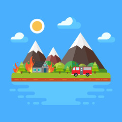 Spring/summer trendy landscape in flat design, trees, sun, clouds, mountains, fire and fire machine. Concept of fire in the wood. Flat vector illustration.