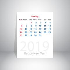 Happy new year 2019 January calendar, vector illustration