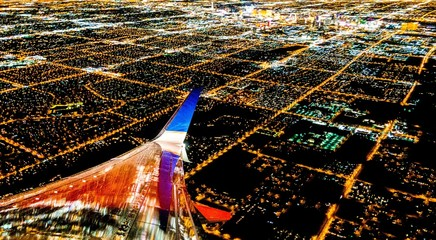 Fotomurales - Las Vegas City lights from airplane at night