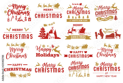 Merry Christmas Labels.Set Of Merry Christmas Labels Holidays Elements Vector
