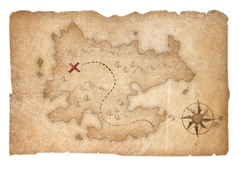 treasure map of pirates isolated with clipping path included