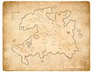 treasure medieval map page isolated