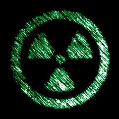 Radiation icon in the black background. Illustration.