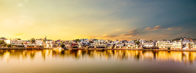 Holy and tourists place of Pushkar Town and Pushkar lake in Rajasthan of India Fotomurales