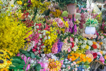 Variety of Flowers at Flower Market in Saigon