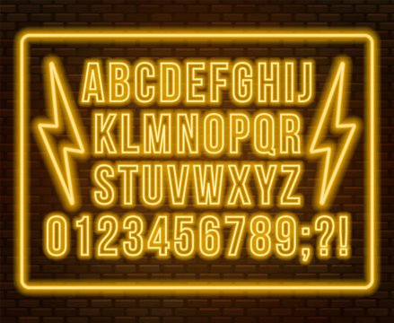Neon yellow font. Bright capital letters with numbers on a dark background.