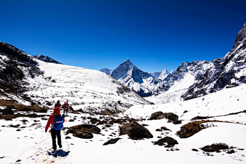 View of Himalayas during Everest Base Camp trekking in Nepal.
