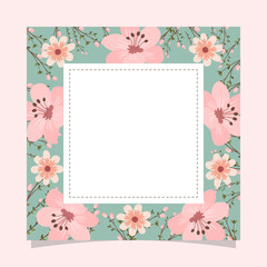Floral greeting card and invitation template for wedding or birthday anniversary, Vector square shape of text box label and frame, Pink sakura flowers wreath ivy style with branch and leaves.