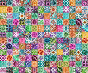Collection of patterns tiles in different colors