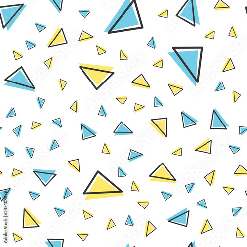 Random triangle pattern, abstract geometric background in 80s, 90s