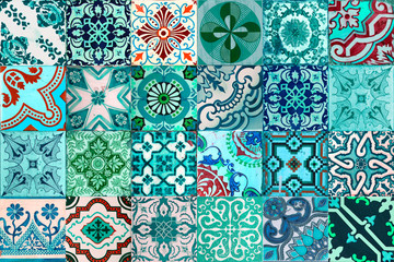 Collection of patterns tiles in blue, green and aqua