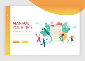 Time Management, Planning, Teamwork Landing Page Template. Business Strategy Concept with Characters Team Working Website or Web Page. Easy to Edit. Vector illustration
