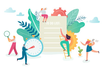 Teamwork, productivity, communication and creativity concept. Business Characters working together Time Management. Vector illustration