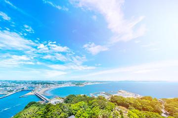 enoshima island and urban skyline aerial view