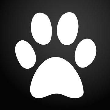 Paw Print icon. Black Background
