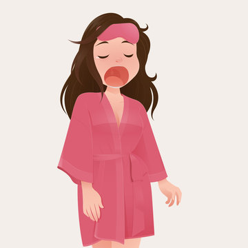 illustration woman in pink robe yawning against cream color background.