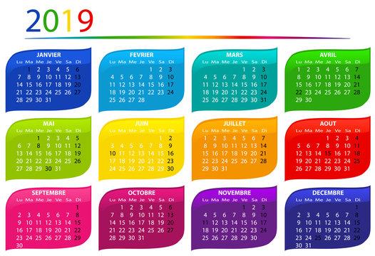 calendrier 2019 multicolore horizontal