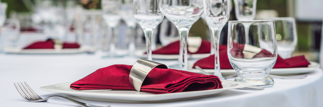 Wedding table decoration, catering service Table set for an event party or wedding reception BANNER, long format