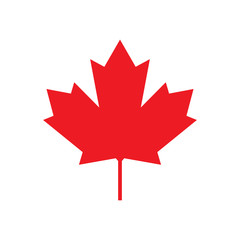 Maple leaf for Canada flag, Maple symbol, Vector illustration of maple leaf Canada flag on white background.