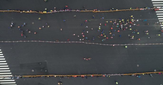 aerial view of city marathon