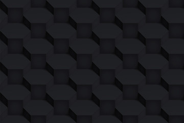Volume realistic black vector hexagon texture, dark geometric seamless pattern, design background for you projects