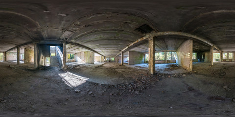 Full spherical seamless panorama 360 degrees angle view concrete structures abandoned unfinished building.  360 panorama in equirectangular equidistant projection, VR AR content