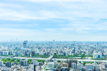 Fototapete - city urban skyline aerial view in koto district, japan