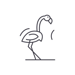 Flamingo line icon concept. Flamingo vector linear illustration, sign, symbol