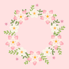 Floral greeting card and invitation template for wedding or birthday anniversary, Vector shape of text box label and frame, Pink flowers wreath ivy style with branch and leaves.