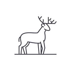Forest deer line icon concept. Forest deer vector linear illustration, sign, symbol