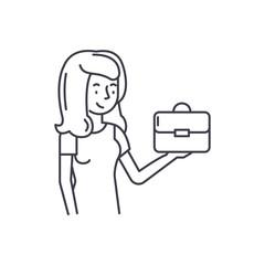 Franchise for women line icon concept. Franchise for women vector linear illustration, sign, symbol