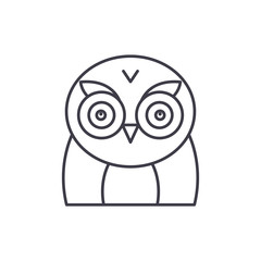 Funny owl line icon concept. Funny owl vector linear illustration, sign, symbol