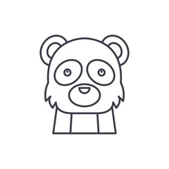 Funny panda line icon concept. Funny panda vector linear illustration, sign, symbol