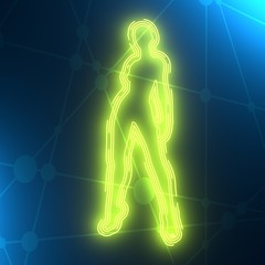 Sexy woman silhouette. Female figure posing. Front view. Outline icon. 3D rendering