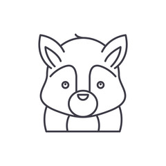 Funny squirrel line icon concept. Funny squirrel vector linear illustration, sign, symbol
