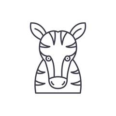 Funny zebra line icon concept. Funny zebra vector linear illustration, sign, symbol