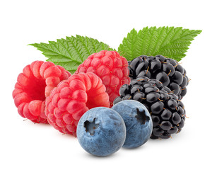 wild berries mix, raspberry, blueberries, blackberries isolated on white background, clipping path,...
