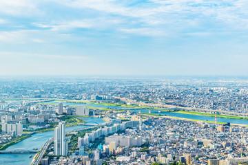 Papiers peints Tokyo city urban skyline aerial view in koto district, japan
