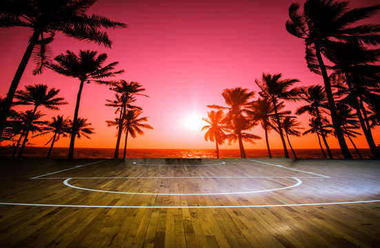 wooden floor basketball court with view sunset tropical beach