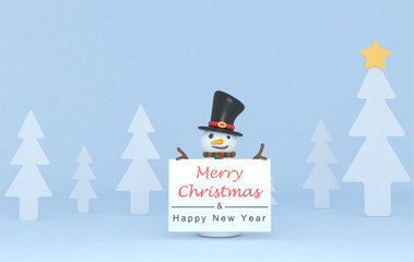 Snowman holding a Greetings placard. 3d Illustration. Isolated.