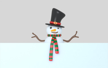 Snowman holding a White banner. 3d Illustration. Isolated.