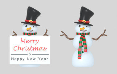 Snowmen holding a Greetings placard. 3d Illustration. Isolated.
