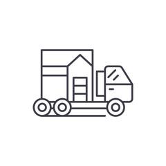 House transportation line icon concept. House transportation vector linear illustration, sign, symbol