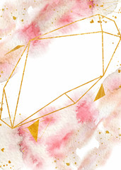 Watercolor abstract background, hand drawn watercolour pink and gold texture