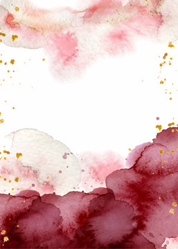 Watercolor abstract background, hand drawn watercolour burgundy and gold texture