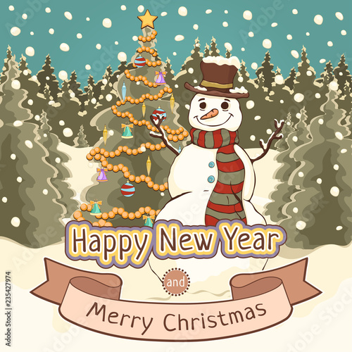 merry christmas and happy new year card poster banner cartoon colorful drawing