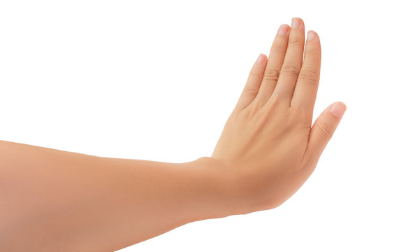 Human hand in reach out one's hand and showing 5 fingers gesture isolate on white background with clipping path, High resolution and low contrast for retouch or graphic design