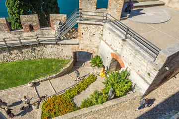 The medieval Scaliger Castle in Malcesine on Garda lake, Verona, Italy.The old Scaliger Castle is one of the top tourist attractions